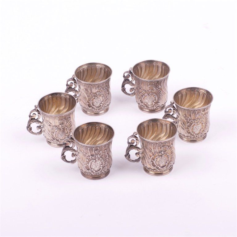 French silver set of 6 shot glass.