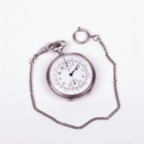 """Silver Pocket Watch """"zenith"""" With Chronograph."""