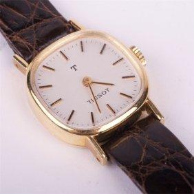 "18k Gold Mechanical Ladies Wristwatch ""tissot""."