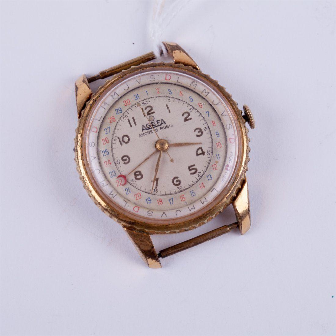 """Agefa"" big size calender wristwatch."