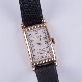 """bulova"" 14k Gold Filled Rectangular Mens Wristwatch."
