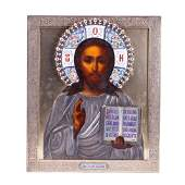Russian Icon of Christ Pantocrator in enameled silver