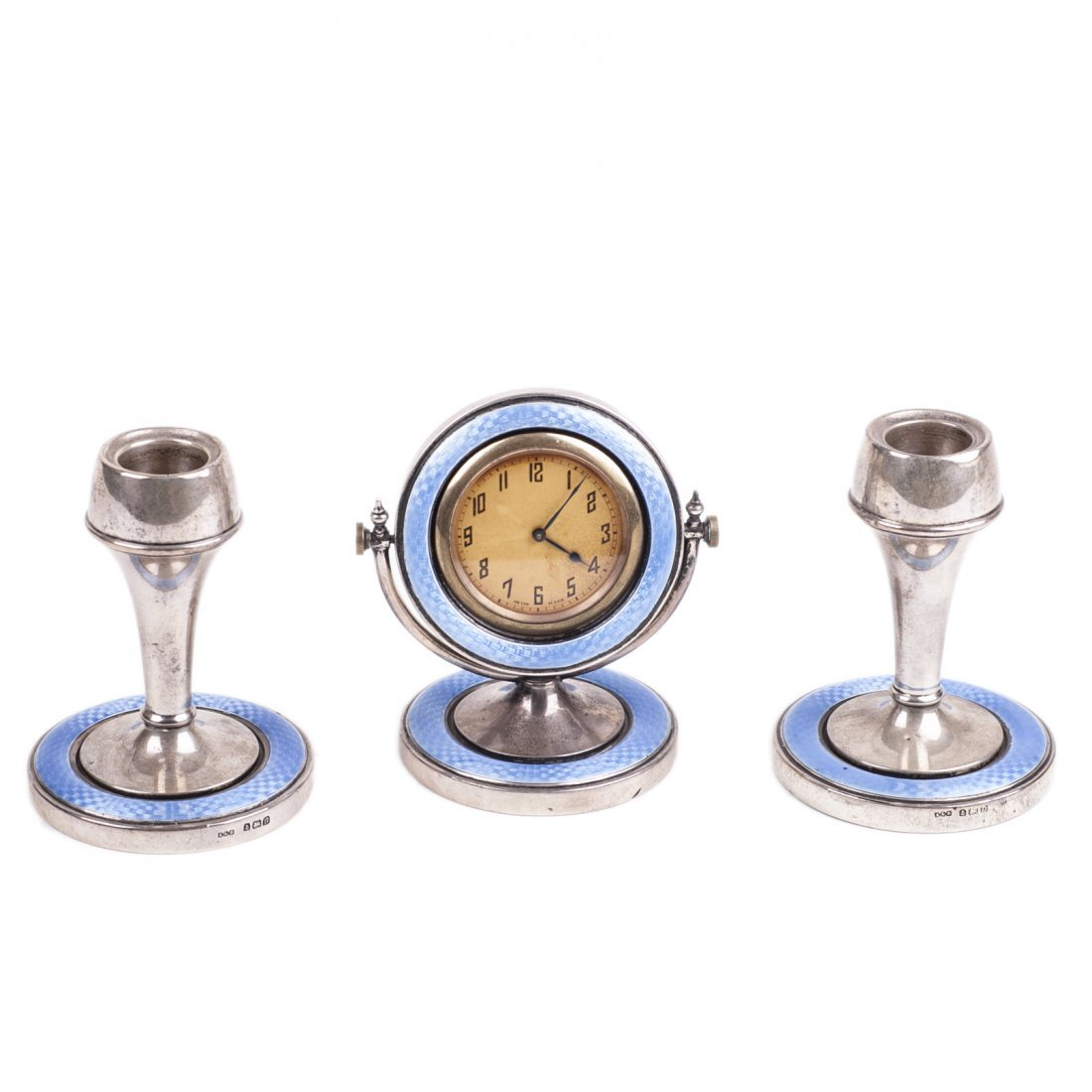 English cabinet desk clock with 2 candlesticks