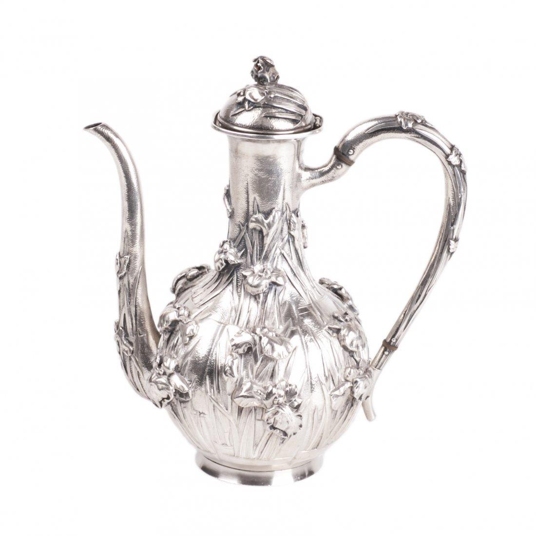 Antique Japan silver coffee pot with flower motifs
