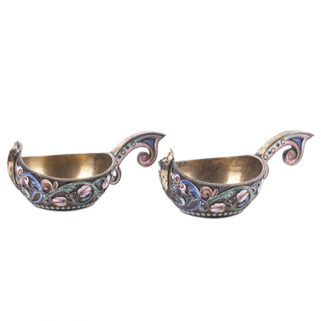 Russian silver enamel pair of kovshs