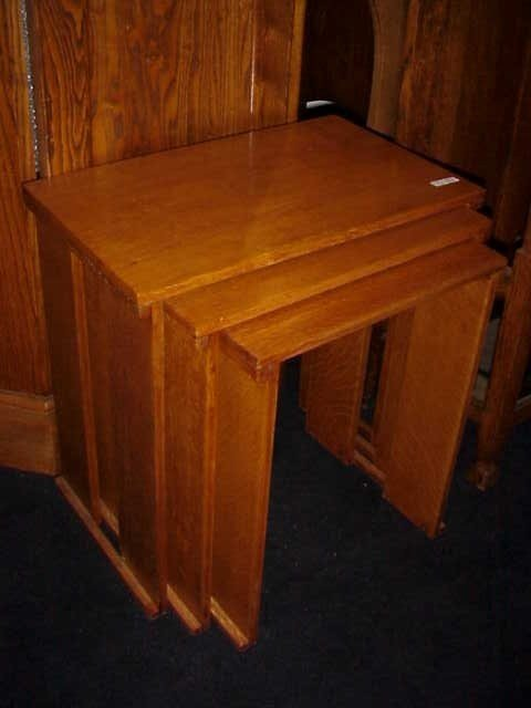 10: Arts & Crafts Glasgow School nest of 3 Oak tables