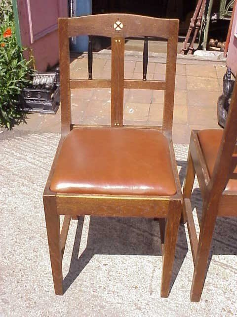 18: 2 Continental Arts & Crafts oak sidechairs