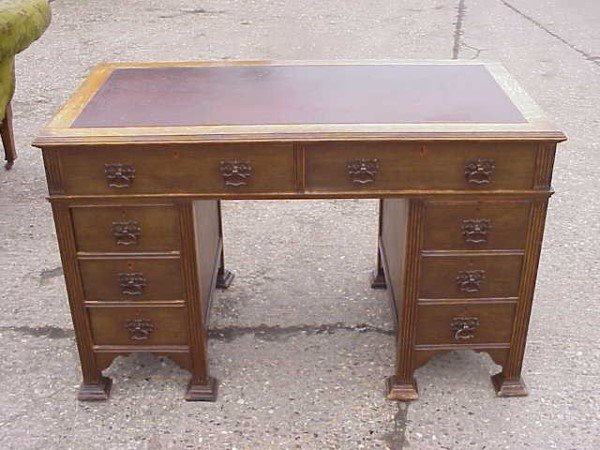 8: Arts & Crafts twin pedestal desk by Goodhall