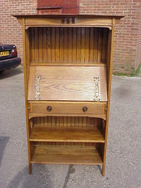 12: Arts & Crafts bureau bookcase by Harris Lebus