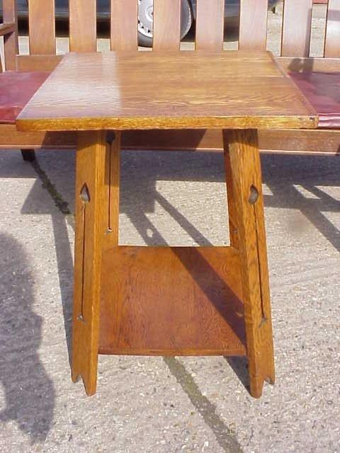 13: Arts & Crafts oak inlaid sidetable