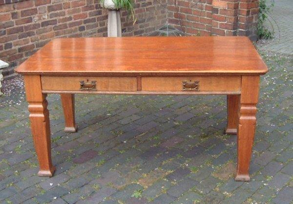 14: Arts & Crafts oak 2 drawer desk
