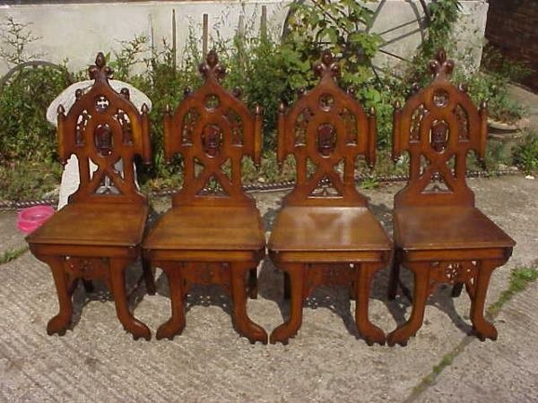 170: 4 Superior quality Gothic Revival oak chairs.