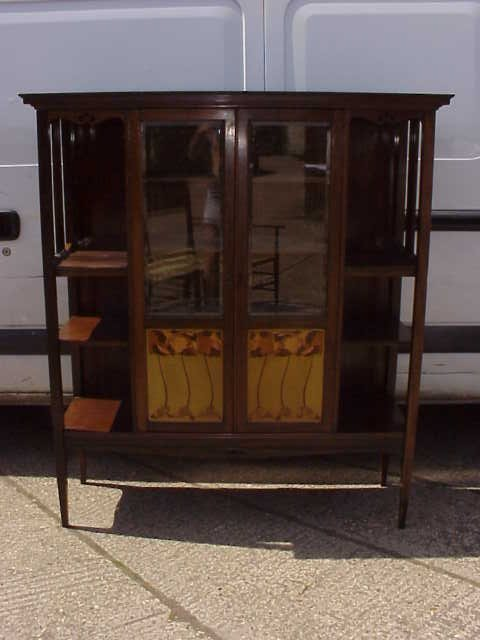4043: Walnut Arts & Crafts Glasgow style display cabine