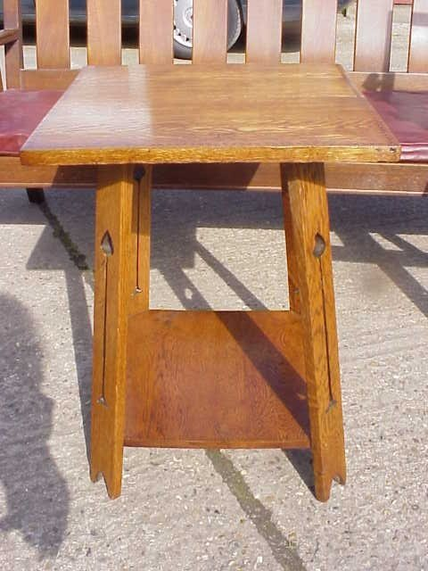 4109: Arts & Crafts oak inlaid sidetable