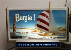 Vintage Counter Top Burgie Beer Advertising Light Sign