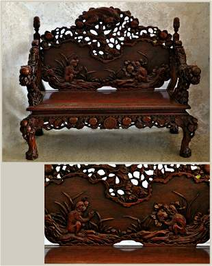 Carved Settee with Monkeys