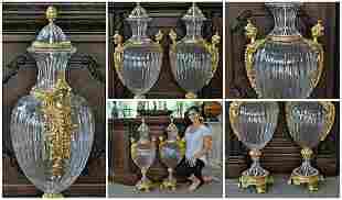 Glass Urns with Bronze Ormolu