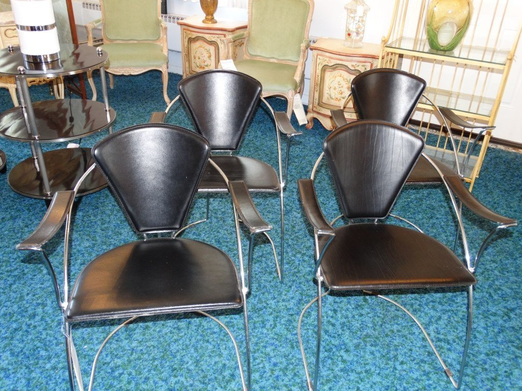 (4) Mid-Century Modern Style Leather Arm Chairs