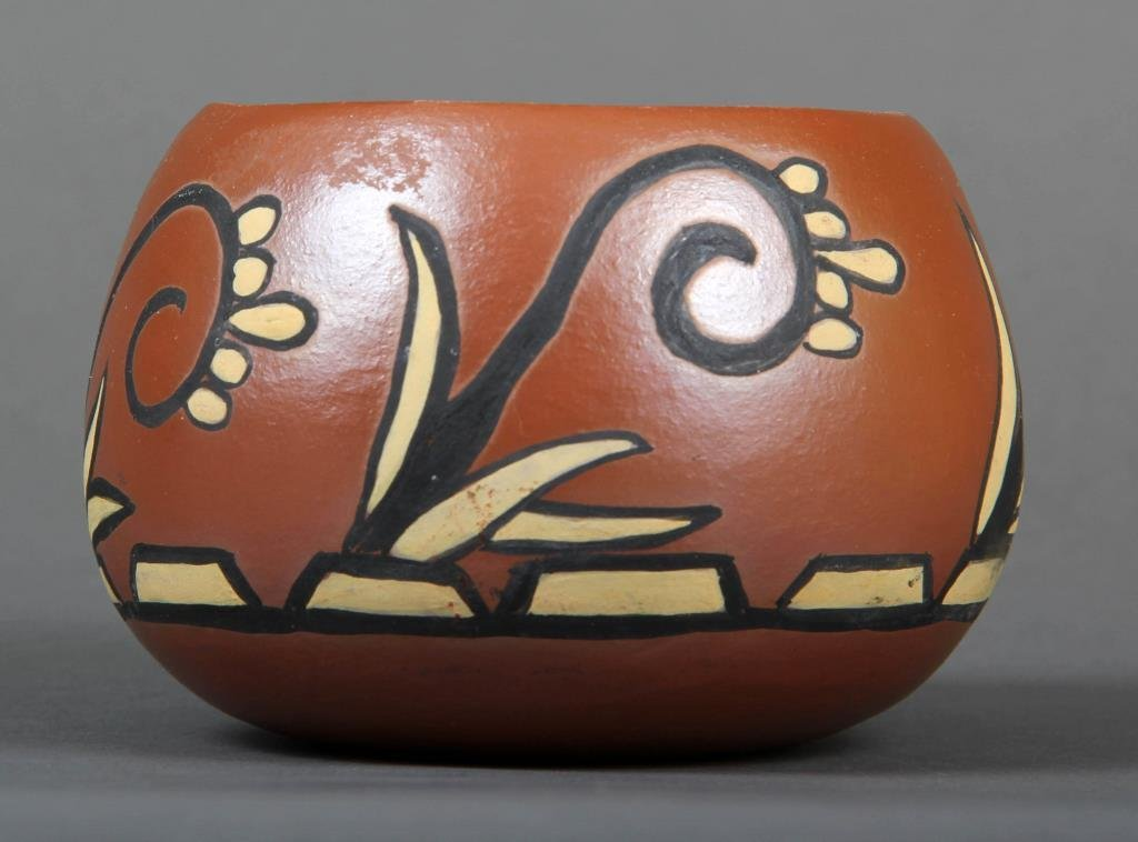 A Hoopa Black Carved & Painted Pot