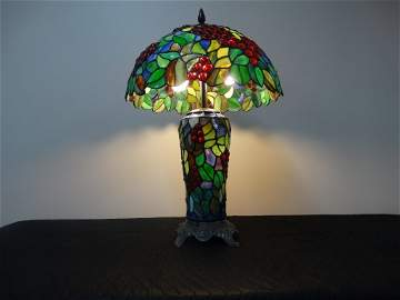 A Fine Tiffany Style Double Lighted Leaded Glass Table