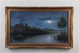 American School Oil Painting on Canvas Laid Board