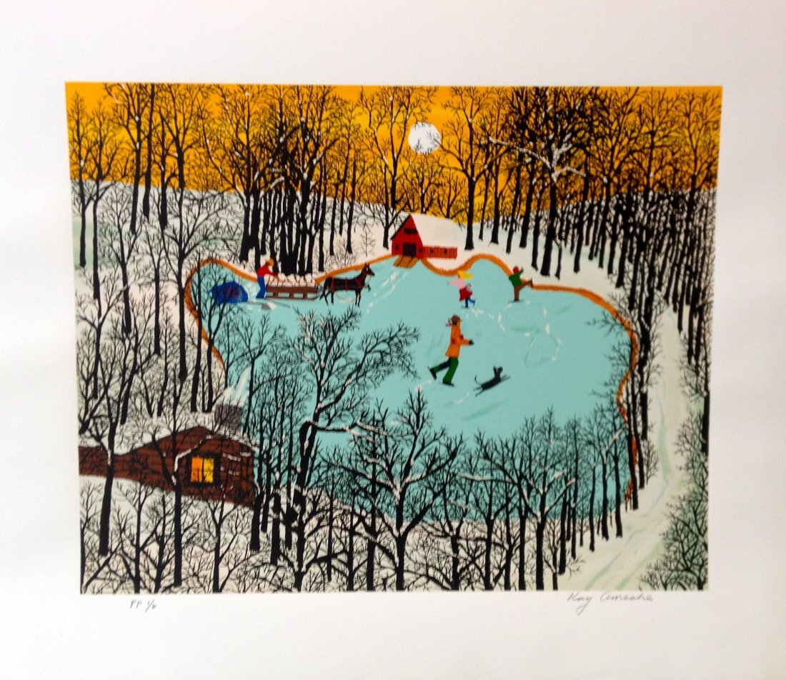 """""""Walden Pond in Winter"""" serigraph by Kay Ameche"""