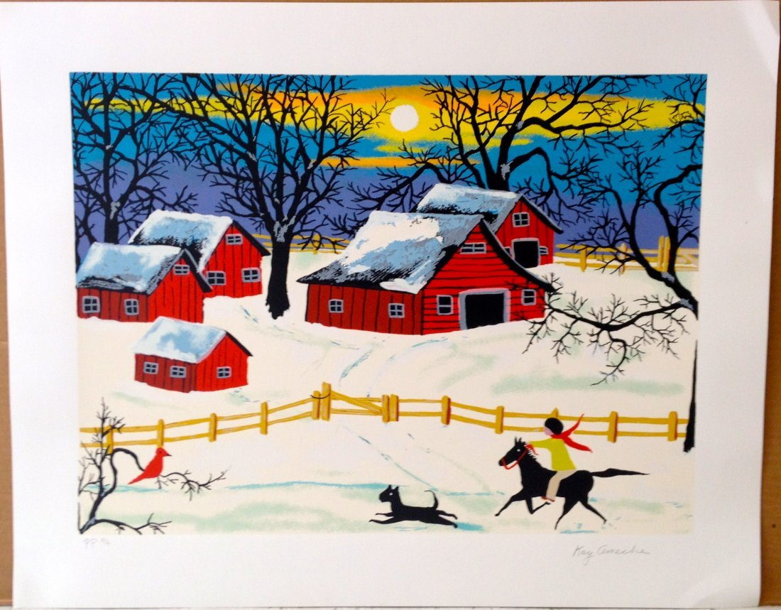 """""""Five Penna Barns"""" serigraph by Kay Ameche"""