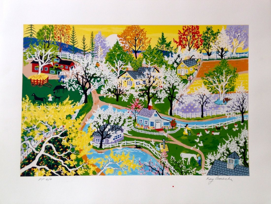 """""""Apple Blossom Glory"""" serigraph by Kay Ameche"""