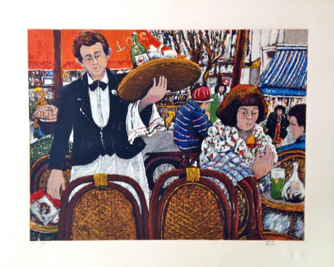 """""""Café la Rotonde Montparnasse"""" lithograph by David"""