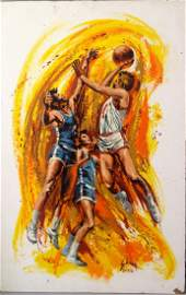 """Basketball"" painting on masonite by Harry Shaare"