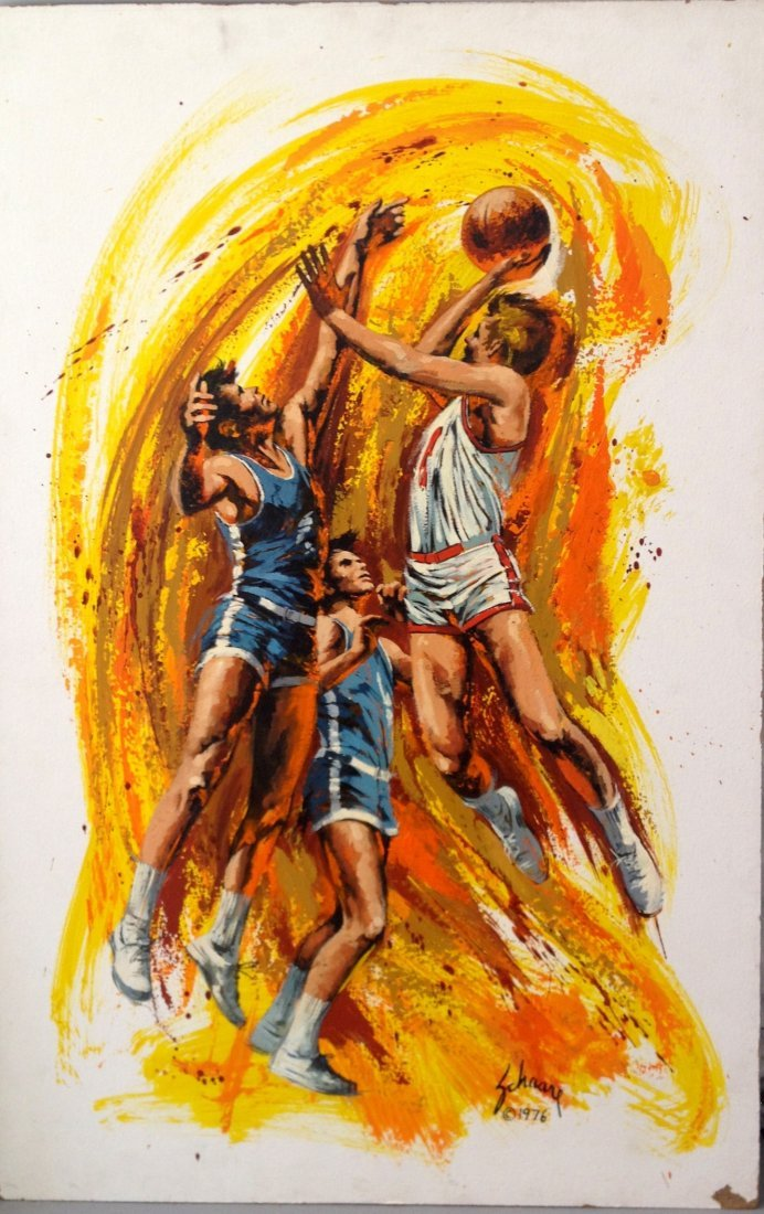 """""""Basketball"""" painting on masonite by Harry Shaare"""