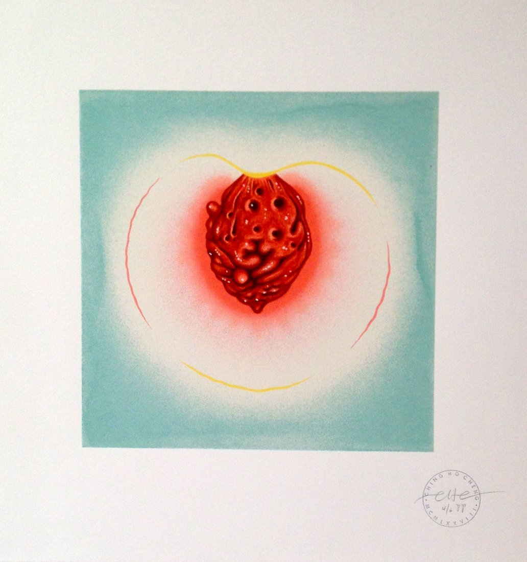 """Peach, Turquoise"""" lithograph by Ching Ho Cheng"""