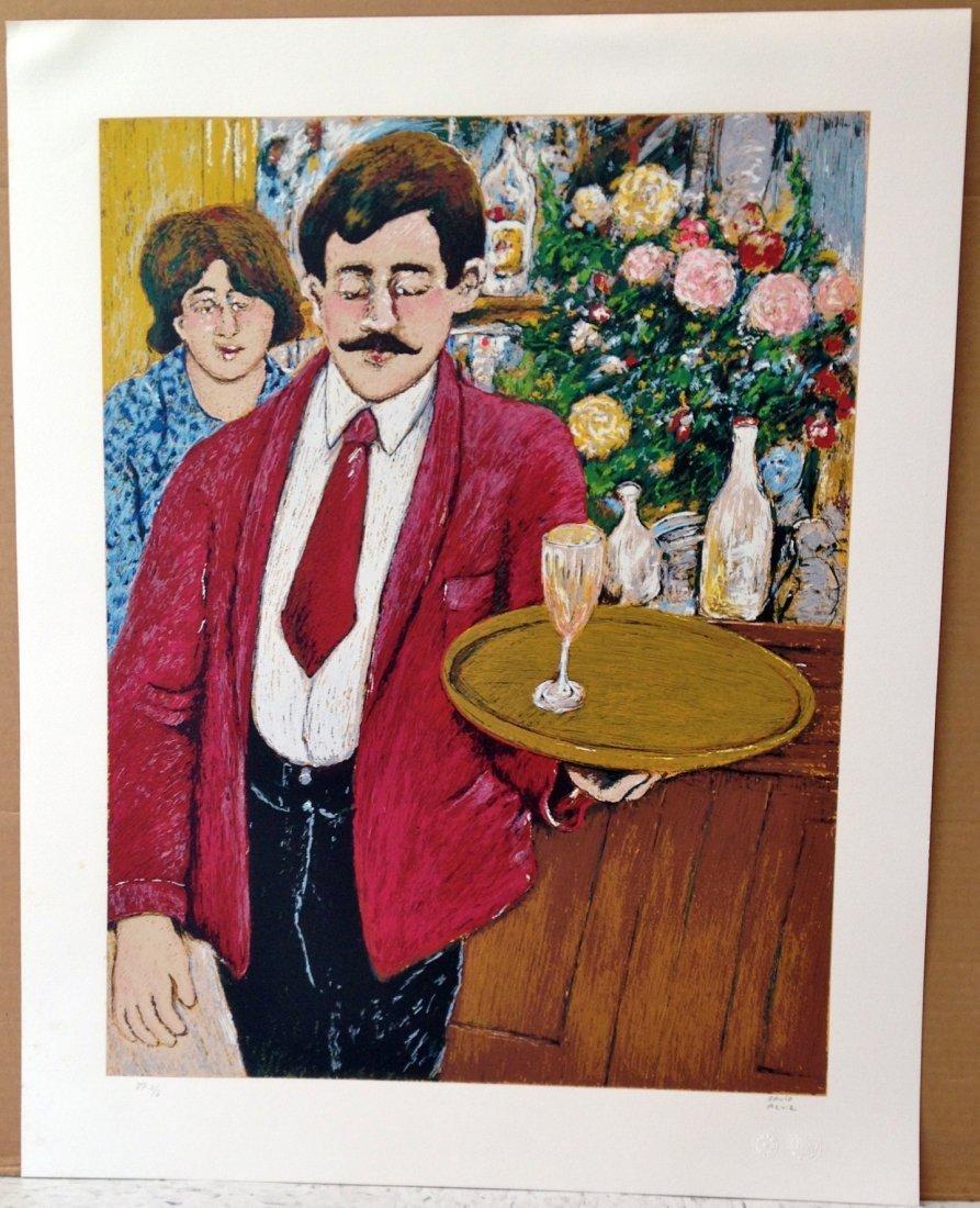 """Italian Waiter"" lithograph by David Azuz"