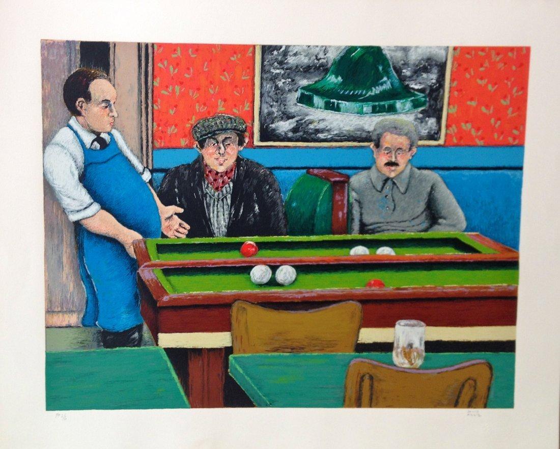 """Pool Hall"" lithograph by David Azuz"