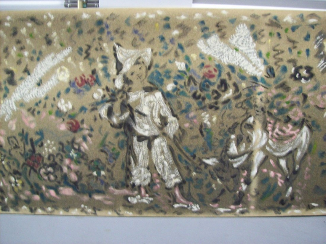"Marcel Vertes ""Le Jardin de Pierrot"" oil painting on"