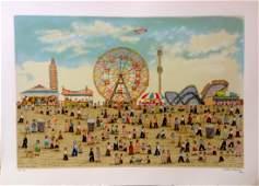 """""""Coney Island"""" serigraph by Vestie E. Davis"""