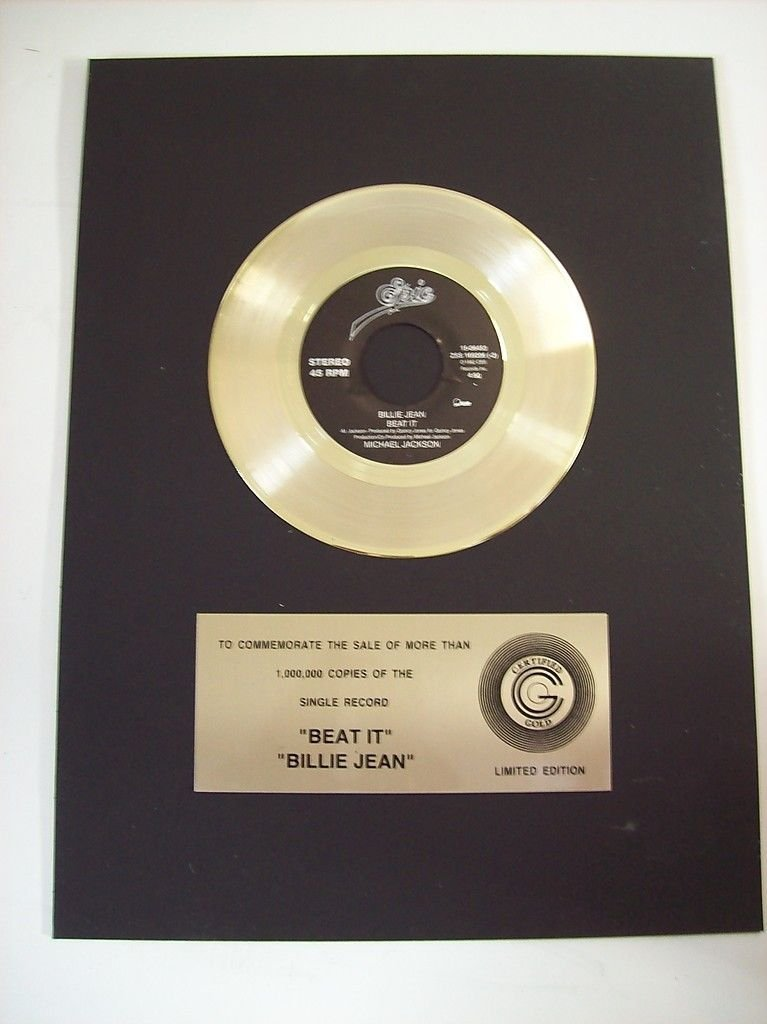 """Michael Jackson Certified Gold Record for """"Beat It,"""