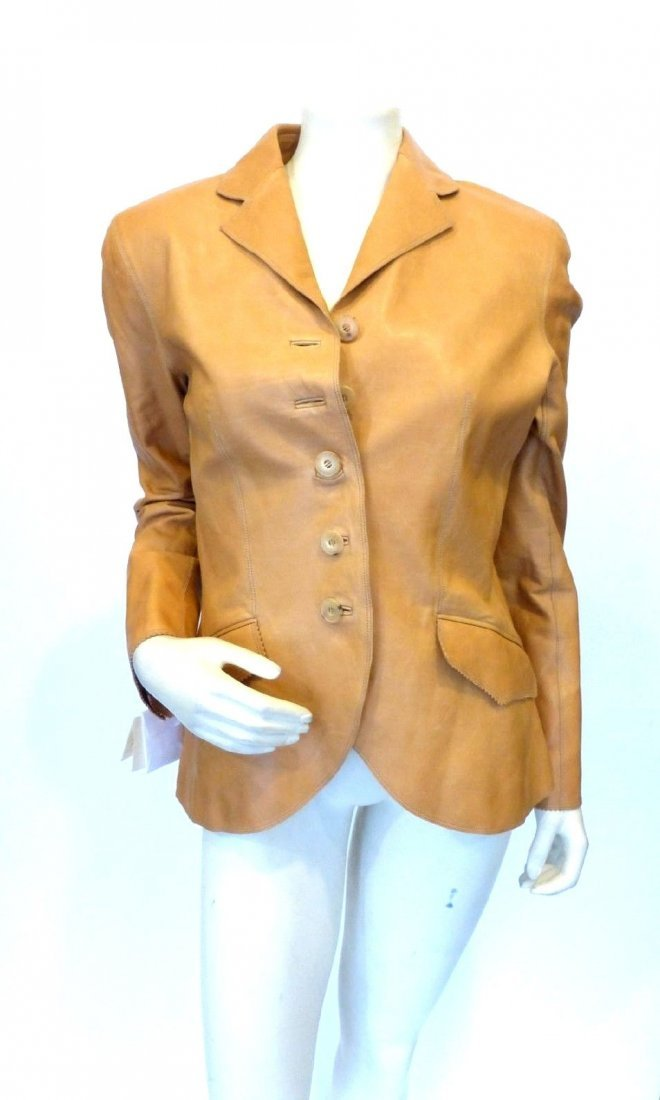 New with tags! Hermes Camel Colored Leather Jacket Euro