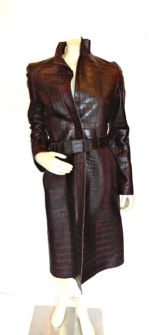 Calvin Klein Brown Alligator Coat, Size 6. New with