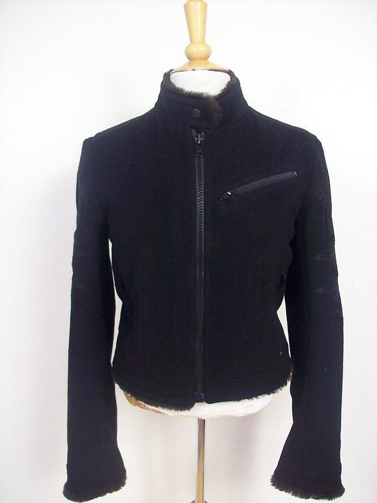 Dries Van Noten Black Wool Motorcycle Jacket, Size 6/38