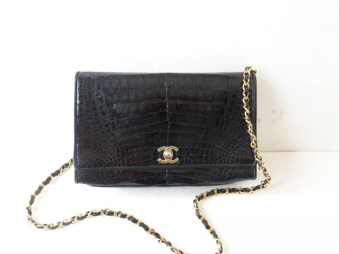 Chanel Vintage Black Crocodile Handbag