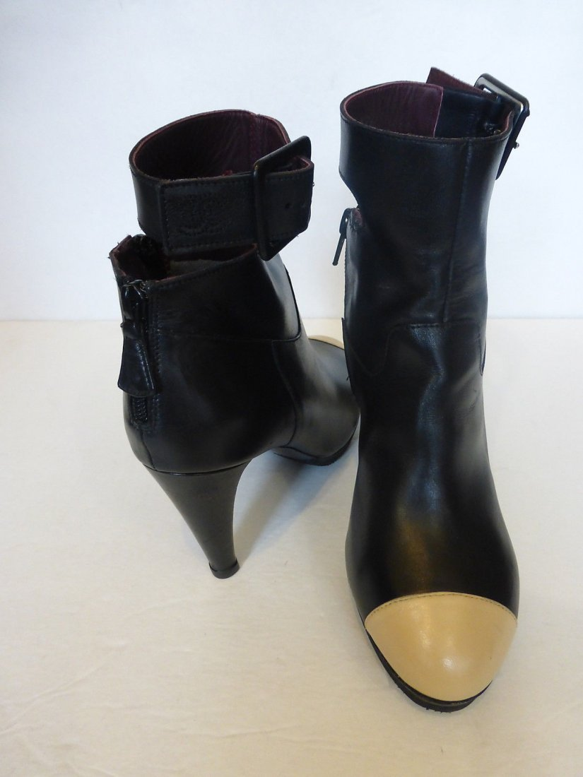 Chanel Black and Tan Ankle Boots, size 6.5/36.5