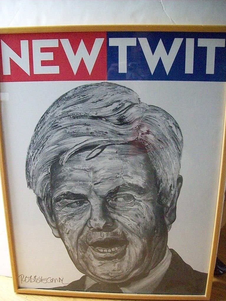 """Robbie Conal Signed Poster """"New Twit"""""""