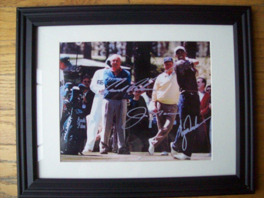 Jack Nicklaus, Tiger Woods and Arnold Palmer signed