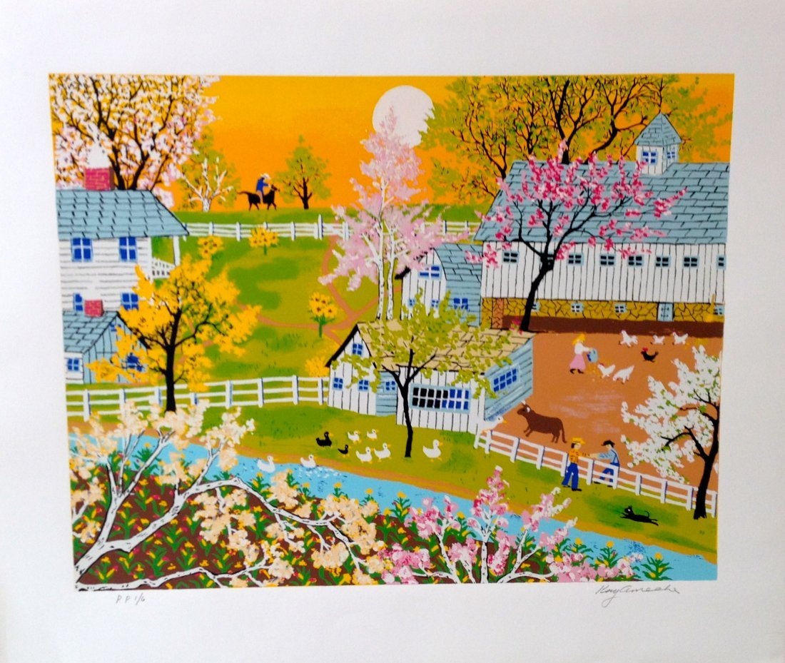 """A Day on the Farm"" serigraph by Kay Ameche"