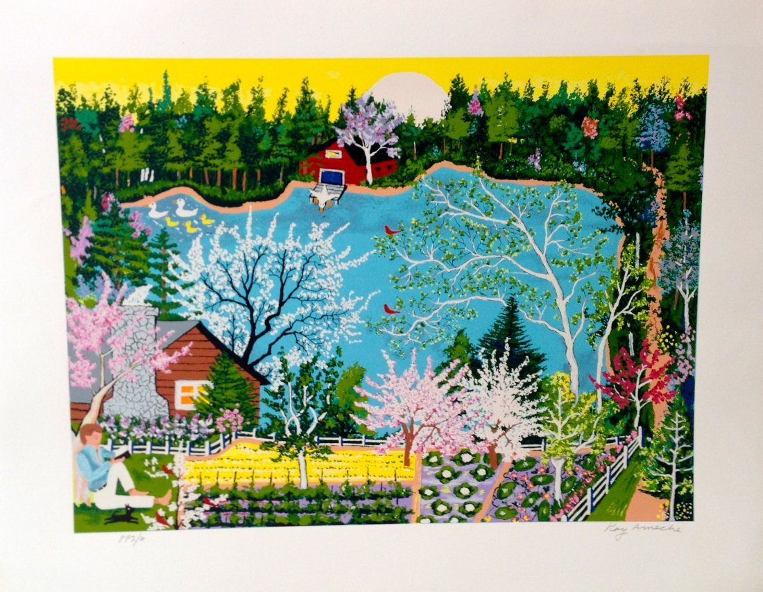 """Walden Pond in Spring"" serigraph by Kay Ameche"
