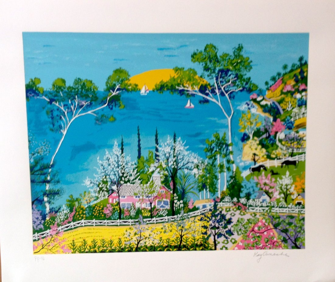 """Sunset"" serigraph by Kay Ameche"