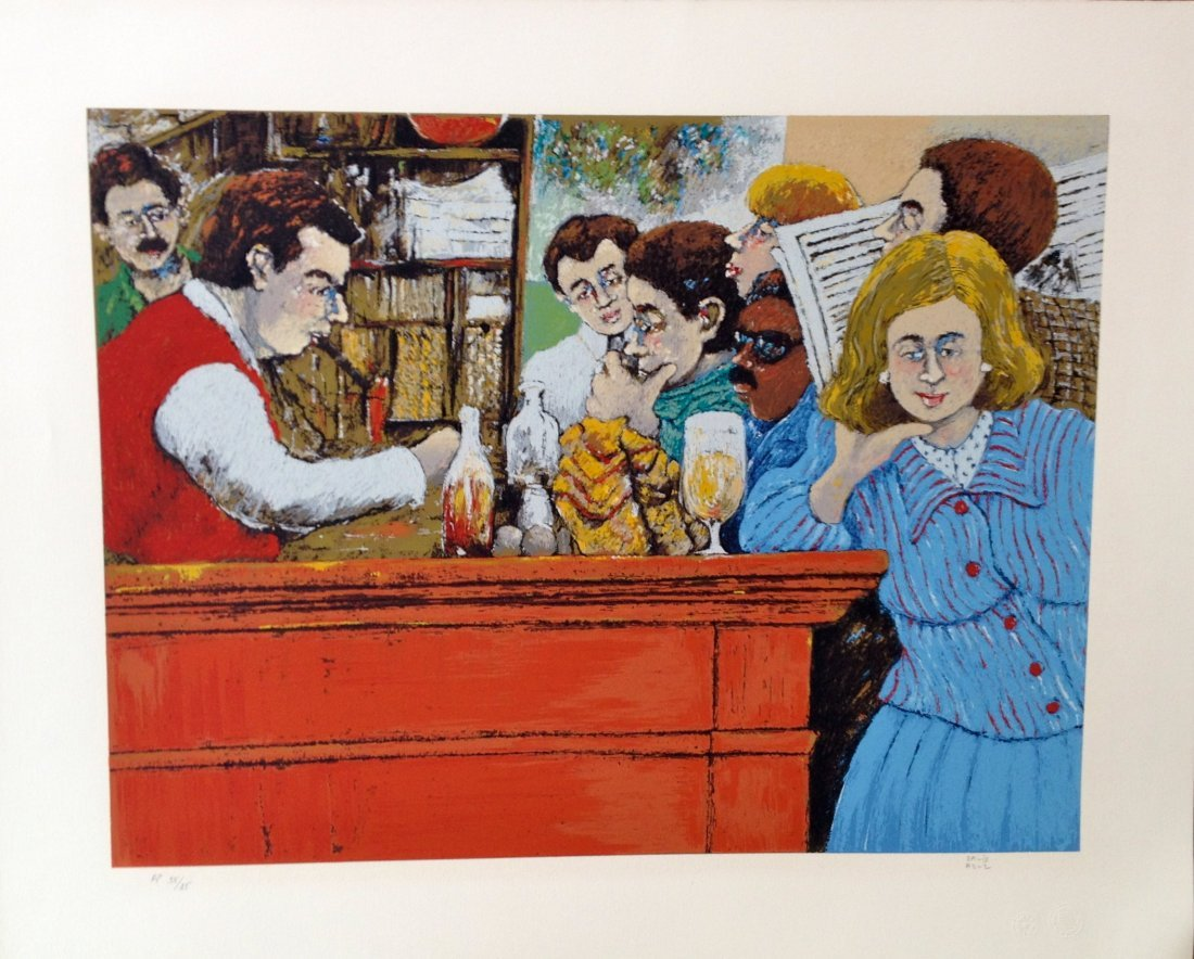 """The Select Montparnasse"" lithograph by David Azuz"