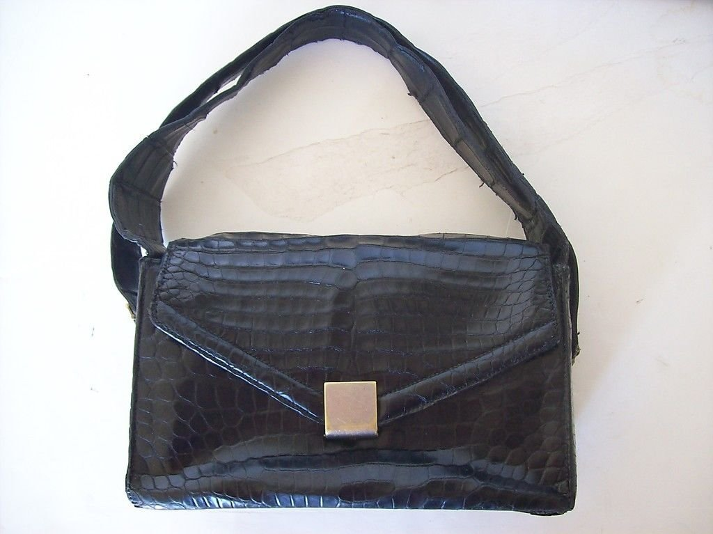 Hermes St. Honore Black Crocodile Handbag.