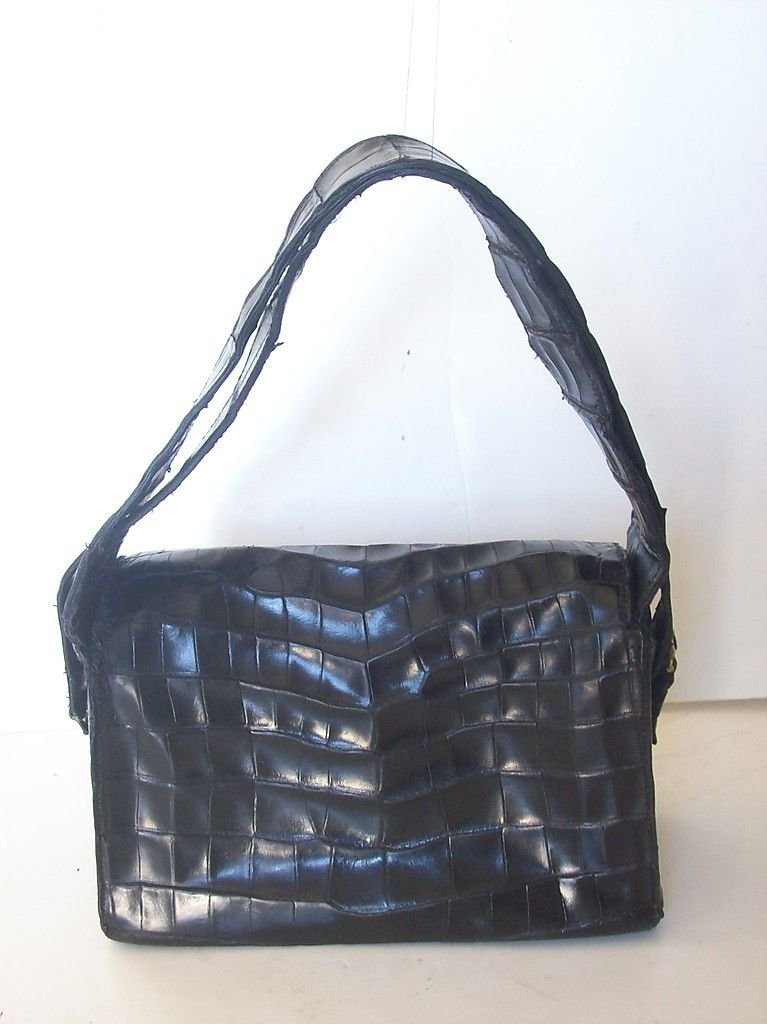 Hermes St. Honore Black Crocodile Handbag. - 2